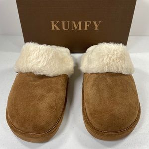 Kumfy Faux Fur Trim Suede Slipper